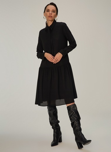 NGSTYLE Fular Bağlamalı Elbise Siyah